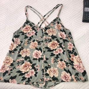 AEO green floral top